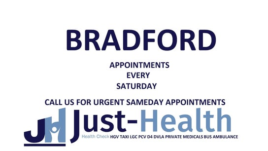 BRADFORD, Just Health Clinic (Opposite Lister Park), 22 Keighley Road BD8 7AT