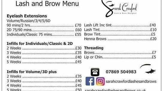 Sarah crawford lashes and brows